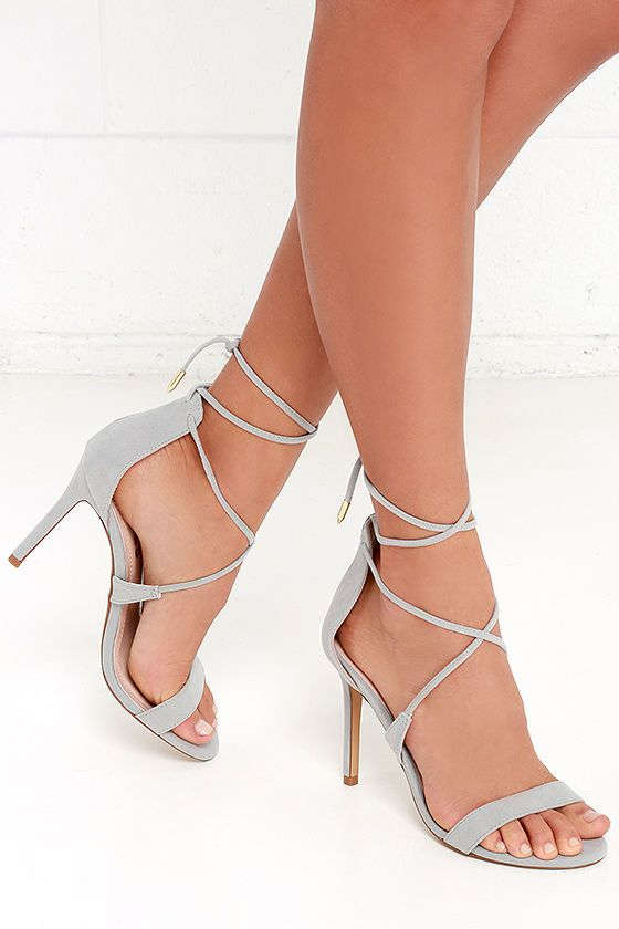 The perfect hybrid between lace-up and peep-toe, the LULUS Romy Grey Lace-Up Heels own the party! Crisscrossing laces wrap around the ankle and are finished in shiny gold aglets.