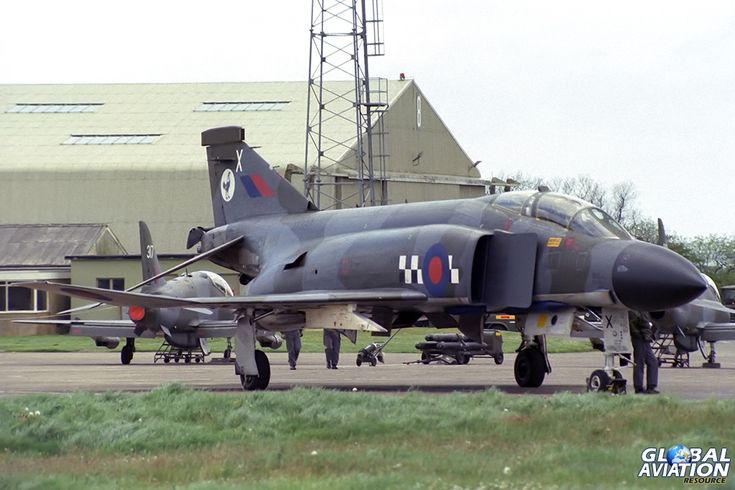 RAF Brawdy Open Day, 21 May 1981. 43 Squadron RAF Phantom FG.1 XV590. Another 43 Squadron Phantom FG.1 XV590, in the the more familiar camouflaged scheme, was scrapped at RAF Leuchars in around 1992. - © Paul Filmer- Global Aviation Resource
