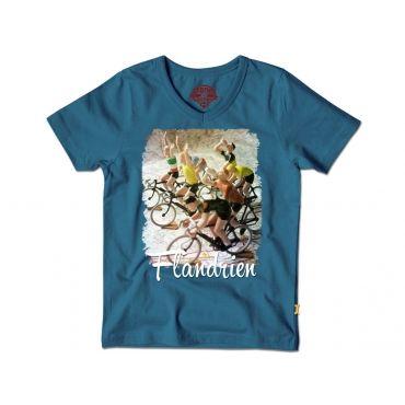 Blauw t-shirt met juichende fietsers - Mister Monkey and Misses Butterfly - Stones and Bones - Maat 92 tem Maat 128 - Jongens - SS16