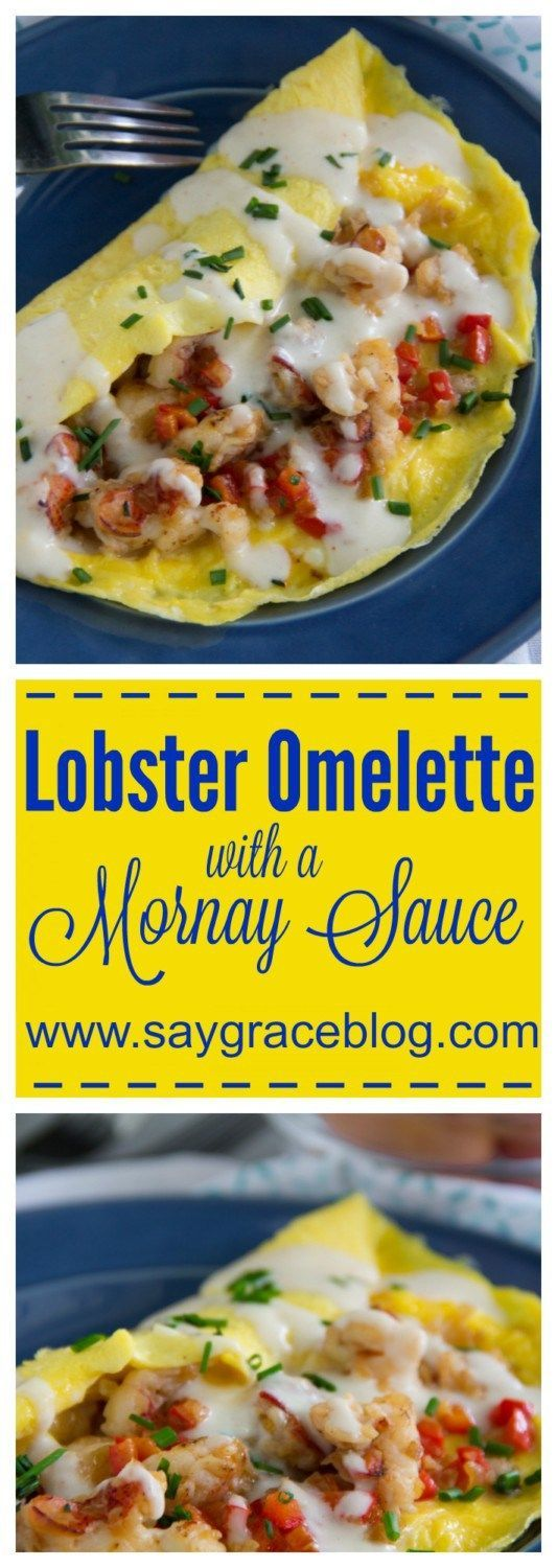 A fluffy three egg omelette stuffed with rich succulent lobster meat, mild shallots and sweet red bell peppers gets topped with a rich homemade French Mornay cheese sauce. Ummm Boy!!!