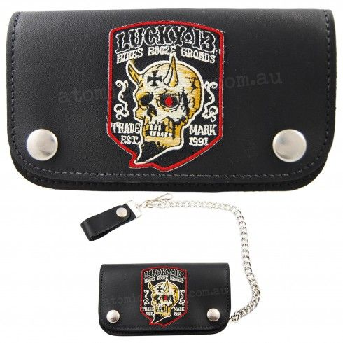 Lucky 13 Booze Bikes Broads Leather Chain Wallet $40