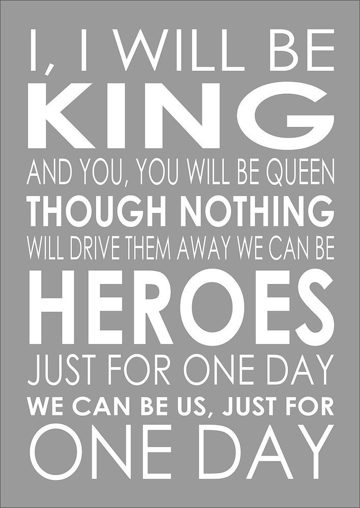 Heroes David Bowie Word Wall Typography Song Lyrics Verse Lyric Poster Print A4