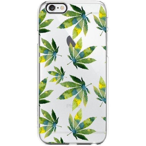 Cannabis Weed Leaves Pattern Transparent Silicone Plastic Phone Case... ($4.99) ❤ liked on Polyvore featuring accessories and tech accessories
