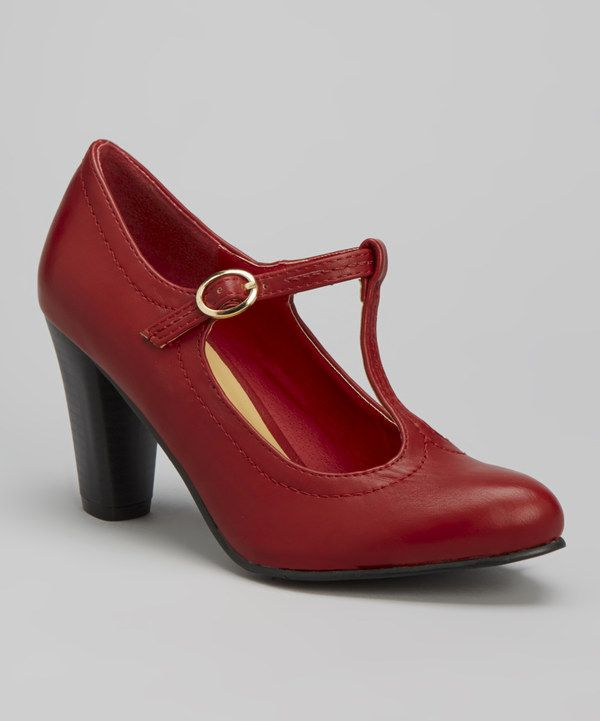 Red Jolie T-Strap Pump by Chase & Chloe