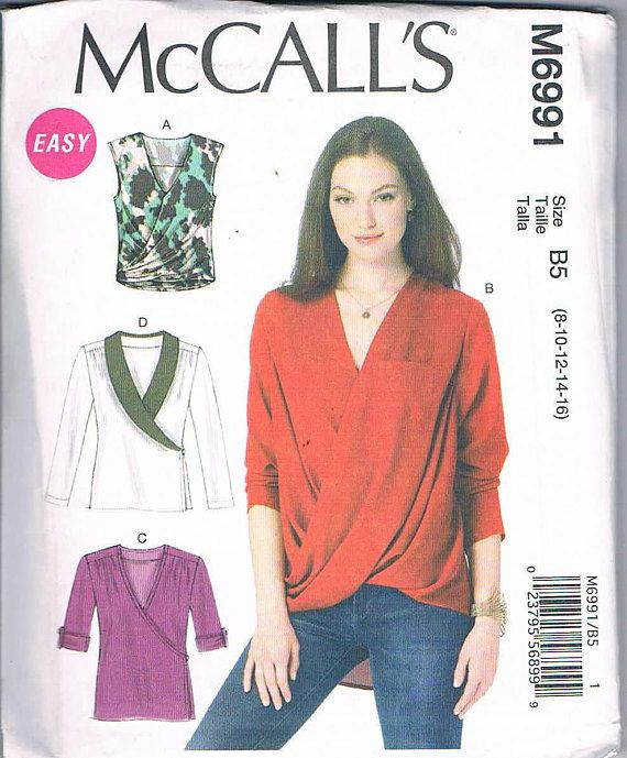 McCall's M6991 Misses Top Sizes 16-18-20-22-24 Long