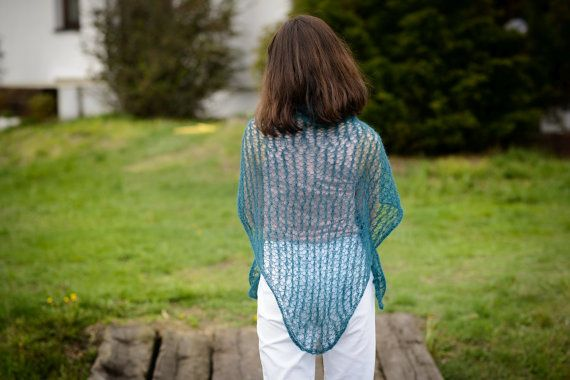 Mohair scarf  Hand knit merino shawl   by Isabellwoolstudio