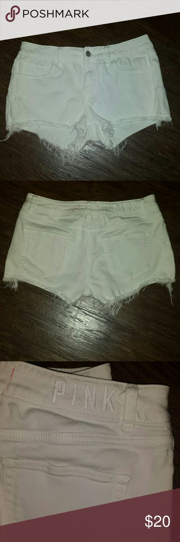 PINK VS white cutoff jean shorts PINK Victoria's Secret  white cutoff jean shorts. Worn twice like new. No stains rips or tears. PINK Victoria's Secret Shorts Jean Shorts