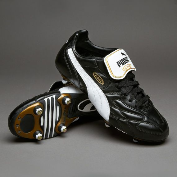 Puma Football Boots - Puma King Pro SG - Soft Ground - Soccer Cleats - Black-White-Gold