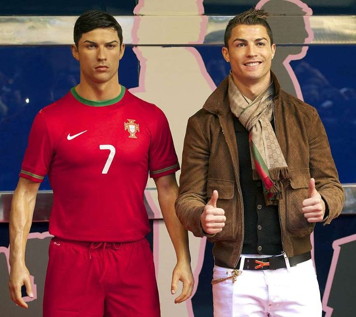 Rare Photos of Cristiano Ronaldo:     2013:   Cristiano Ronaldo attends the unveiling of his wax figure at the Museo de Cera ﴾Wax Museum﴿ in Madrid.