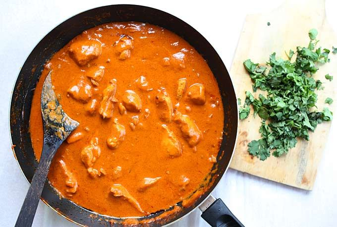 "Indian Butter Chicken. Ingredients: 6T butter (divided), 1 kg chicken breasts (cut into 1"" chunks), 1 yellow onion (diced), 3 garlic cloves (minced), 3 tsp garam masala, 1T fresh grated ginger, 1 tsp chili powder,  1 tsp ground cumin, ½ tsp cayenne pepper,  1½ cups tomato sauce, 2 cups cream (sub with milk?), salt & pepper, lime & cilantro for garnish"