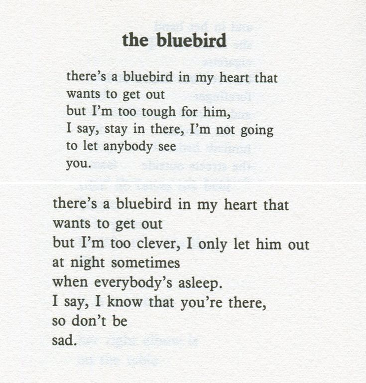 Charles Bukowski. Bluebird in my heart  I love finding things like this. ONYX.2011 <3