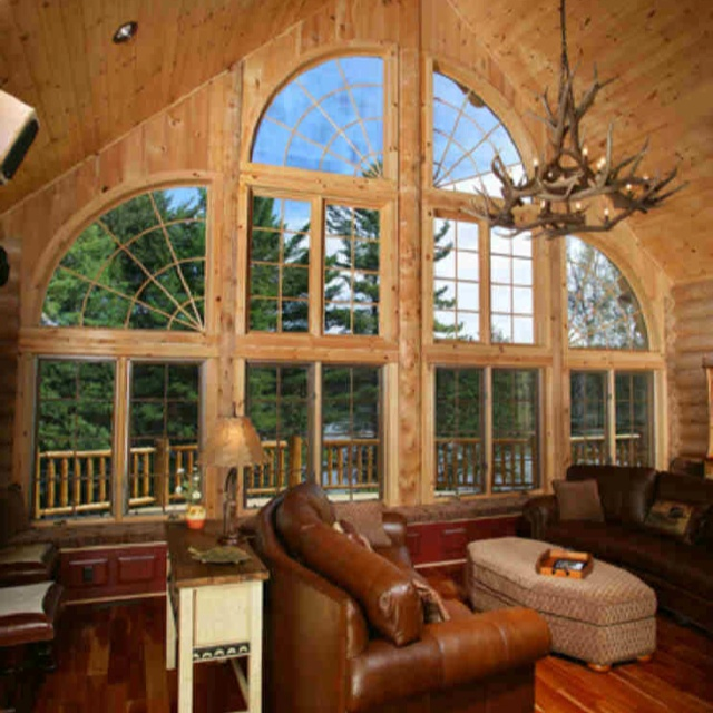 17 best images about log cabins on pinterest home for Large front windows house