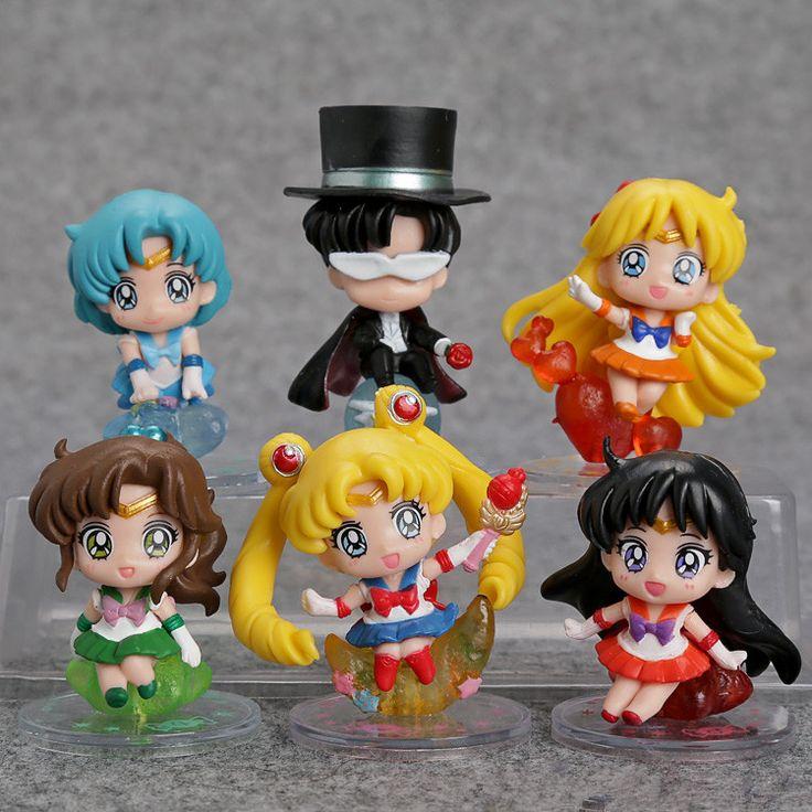 Sailor Moon Tsukino Usagi Tuxedo Mask Sailor Venus Mercury Mars Jupiter PVC Figures Toys Keychains 6pcs/set SAFG044 #Affiliate