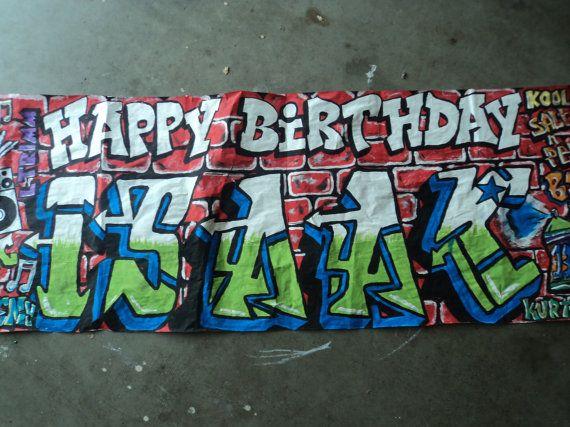 Birthday banner graffiti wall 80's hip hop by ...