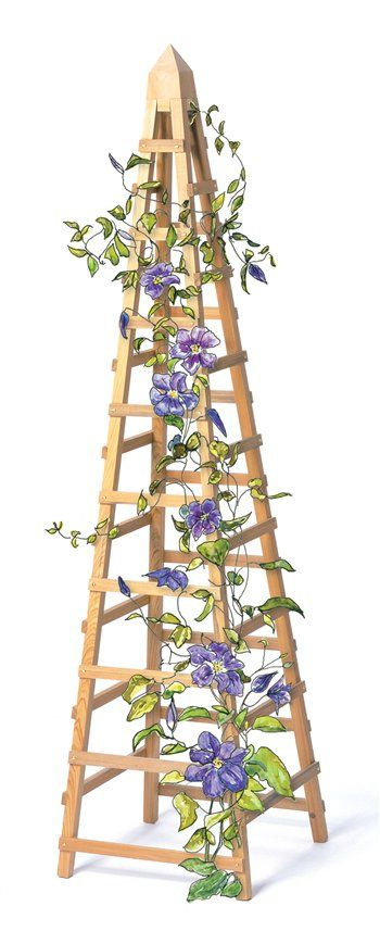 Wood garden obelisk trellis woodworking projects plans for Garden obelisk designs