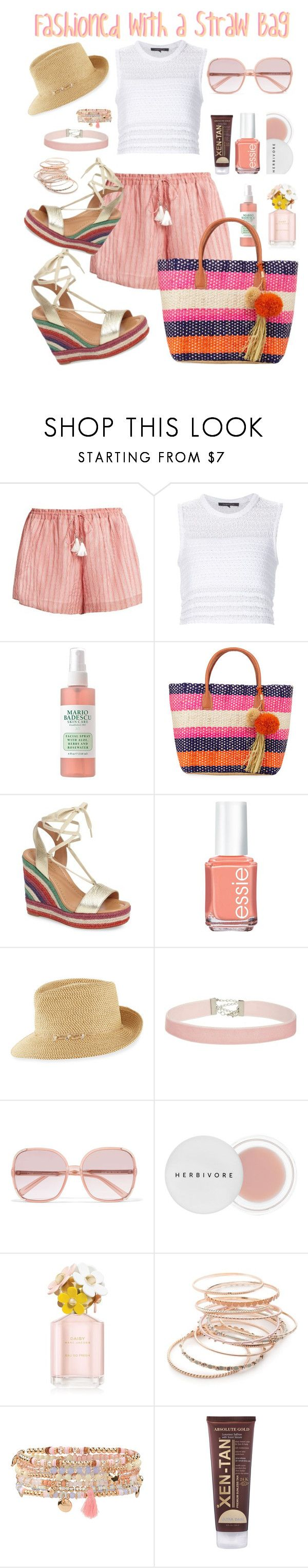 """""""Fashioned with a Straw Bag"""" by michele-nyc ❤ liked on Polyvore featuring Zimmermann, Thakoon, Buji Baja, Kate Spade, Essie, Eric Javits, Miss Selfridge, Chloé, Herbivore and Marc Jacobs"""