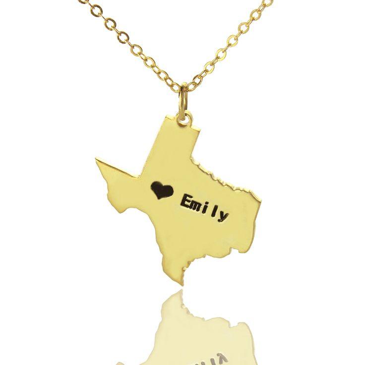 Персонализированные США Государства Ожерелья Сердца DIY Техас Формы Позолоченный Шарм Ожерелье Пользовательские Карты Ожерелье