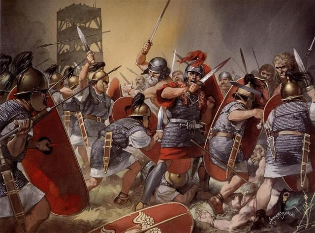 Battle of Alesia by Angus McBride.  Romans outnumbered 4 to 1, defeated the Gauls.