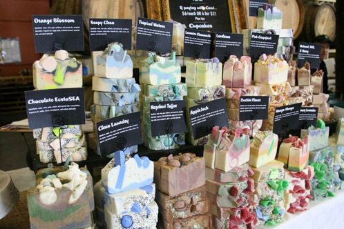 How to display handmade soaps at craft fair. It's so beautiful and eye catching, and yet practical!