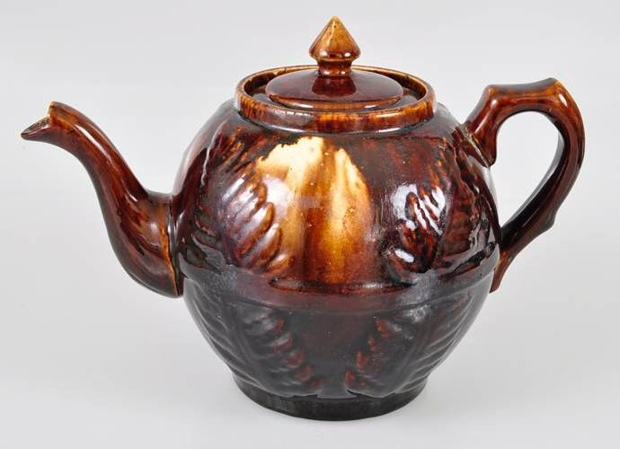 majolica pottery | ... about BENDIGO Pottery Colonial Fern Leaf TEAPOT - Majolica Browns