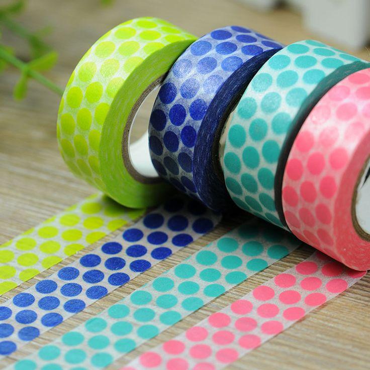 Big Dots Print Washi Tape Green Pear Royal Blue Aqua Coral Pink X