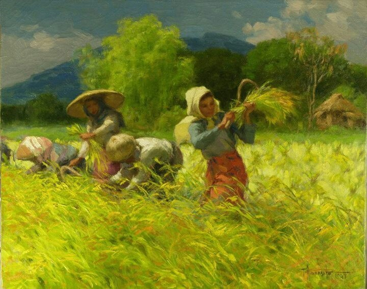 """Harvesting Rice"" by Philippine national artist Fernando Amorsolo"