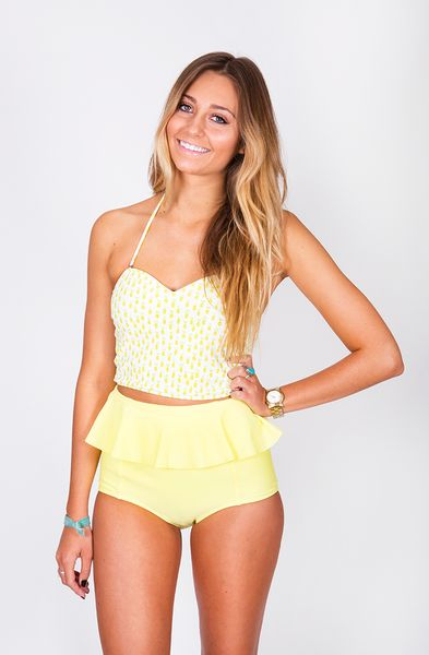 High-waisted bottoms with an attached peplum Same fit as our original bottoms Fully lined