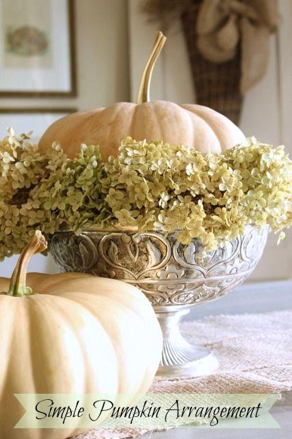Simple Pumpkin and Hydrangea Arrangement Repined by John Wolf Florist #Savannahflorist #halloween #fallflowers