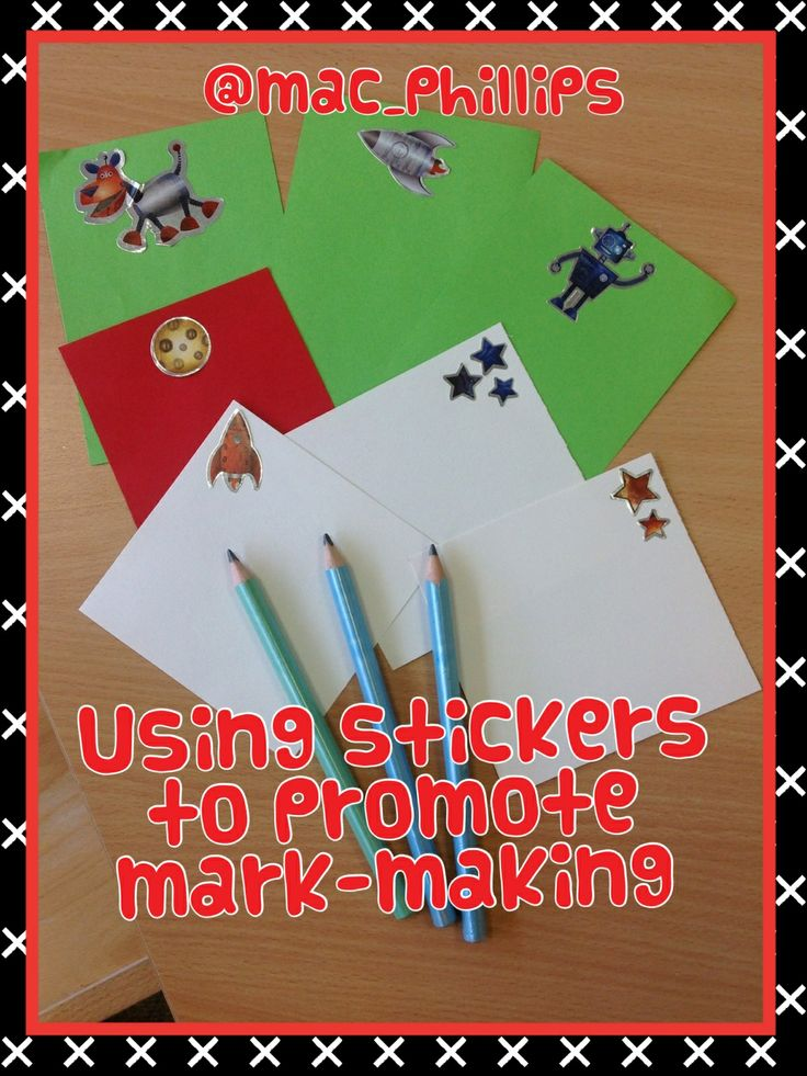 Open-ended mark-making resources- stickers and coloured paper/card