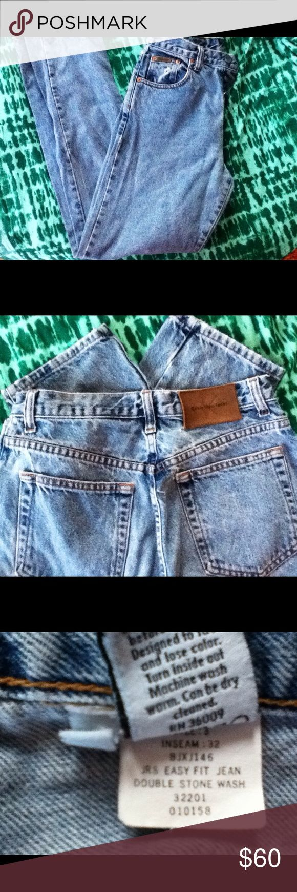 Vintage Calvin Klein button fly jeans 1996 Vintage Calvin Klein button fly stone washed jeans .. Straight legs.. Size 3... Waist 26 ..front rise 10 ...back rise 13....32 length.. See last photo re waist with ruler across..13 inches across ...!  :-) Calvin Klein Jeans