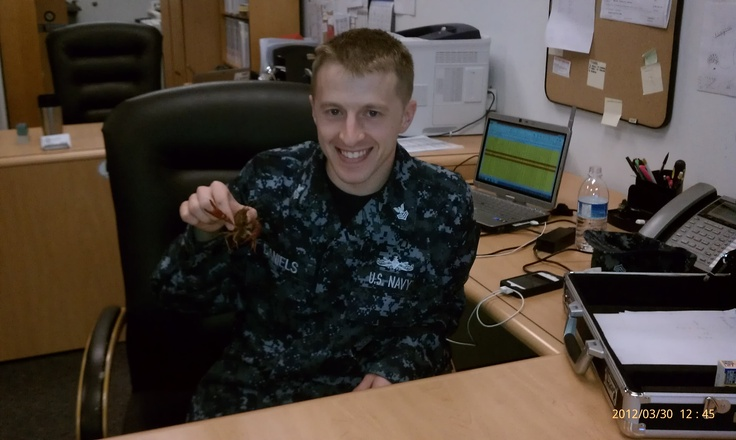 Trying to catch a slow boat ride to Fiji at the Navy Recruiter's Office!