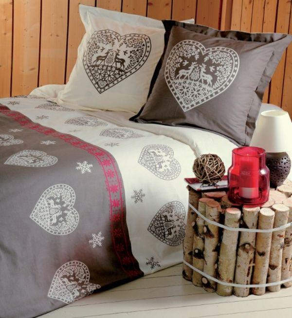 linge de lit design aux coeurs