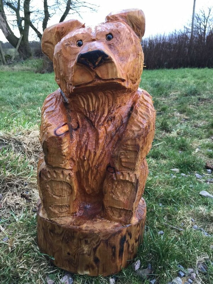 Chainsaw Carved Sitting Wooden Bear Garden Ornament Statue ...