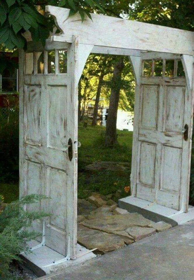 Make an ARBOR WALKWAY using OLD DOORS....love this idea! What do you think? Featured on our Best Upcycled Ideas! http://kitchenfunwithmy3sons.com/2016/04/best-upcycled-furniture-ideas.html/