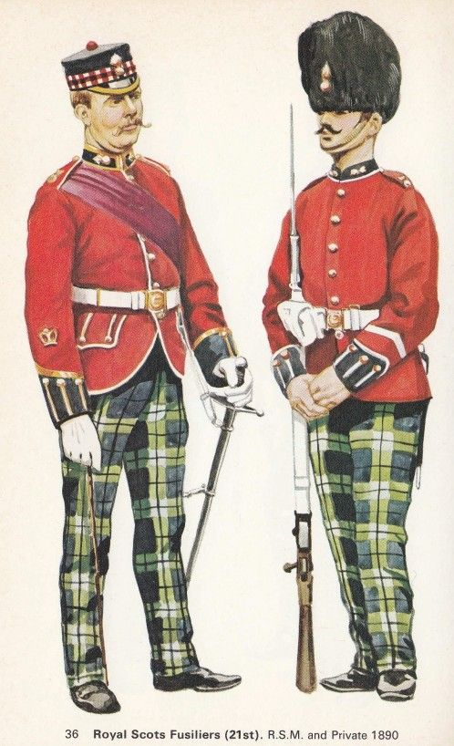 British; Royal Scots Fusiliers, RSM & Fusilier, 1890