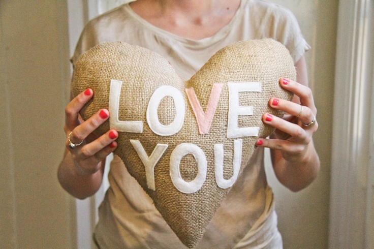 "Heart Shaped Burlap ""Love You"" Pillow - Valentine's Day Gift Idea. $42.00, via Etsy."