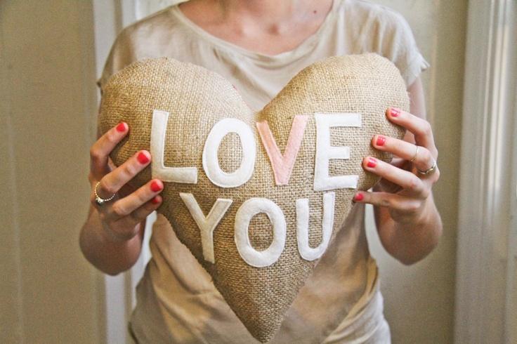 "Heart Shaped Burlap ""Love You"" Pillow - Valentine's Day Gift Idea. $42.00, via Etsy."