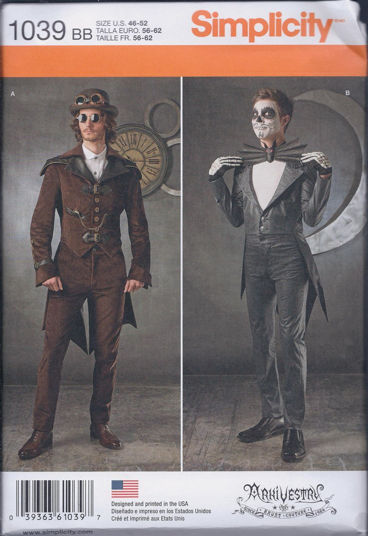 Simplicity 1039 Mens Steampunk Vampire Costume Coat Pants Bat Bow Tie UNCUT Sewing Pattern by ReduxPatterns on Etsy https://www.etsy.com/listing/261475286/simplicity-1039-mens-steampunk-vampire