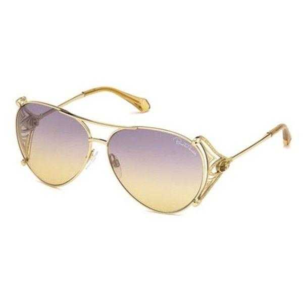 Roberto Cavalli RC 1057 FUCECCHIO 32Z Sunglasses (1,290 SAR) ❤ liked on Polyvore featuring accessories, eyewear, sunglasses, gold, purple sunglasses, purple aviators, mirrored aviators, purple mirrored aviators and mirror aviators