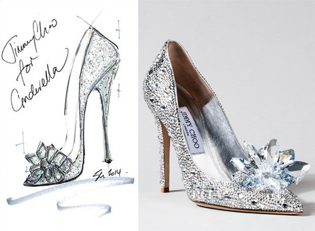 Jimmy Choo designed by Lily James inspired from cinderella glass slippers from her role as cinderella