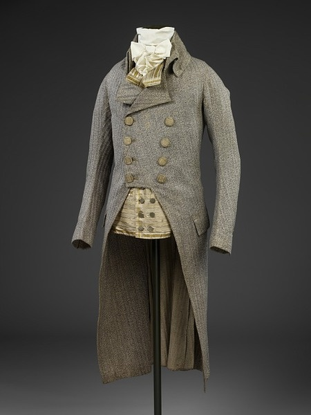 Physical description Man's frock coat of grey striped wool. Place of Origin: England, Great Britain Date: 1790