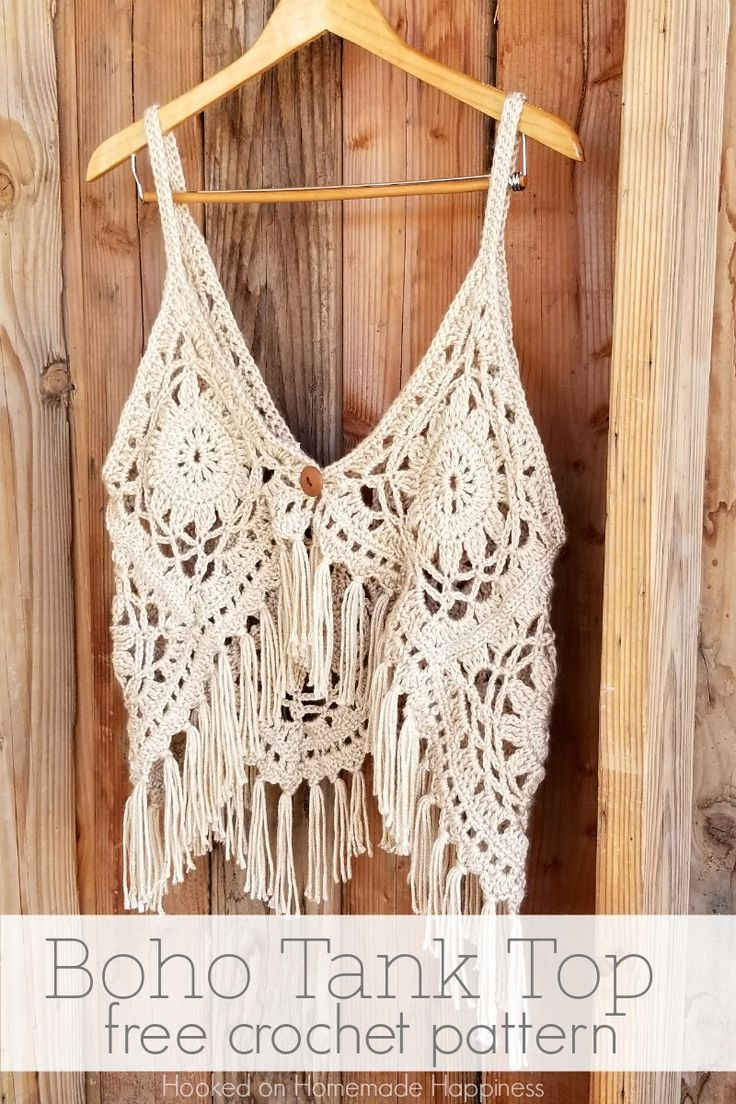 Boho Tank Top Crochet Pattern – I love this fun, funky, fring-y Crochet Boho Tan…