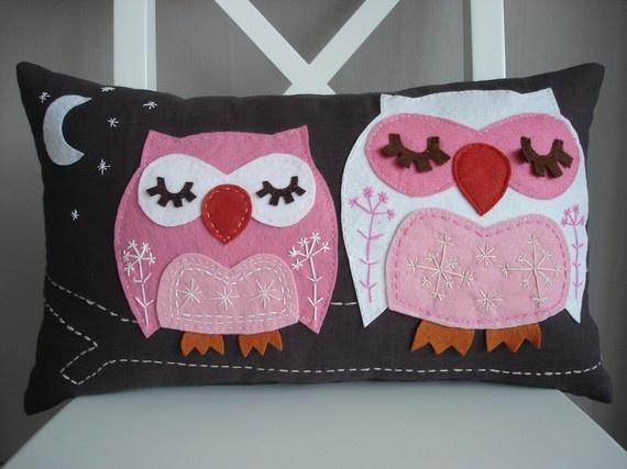 pink owls pillow... #owls #pink