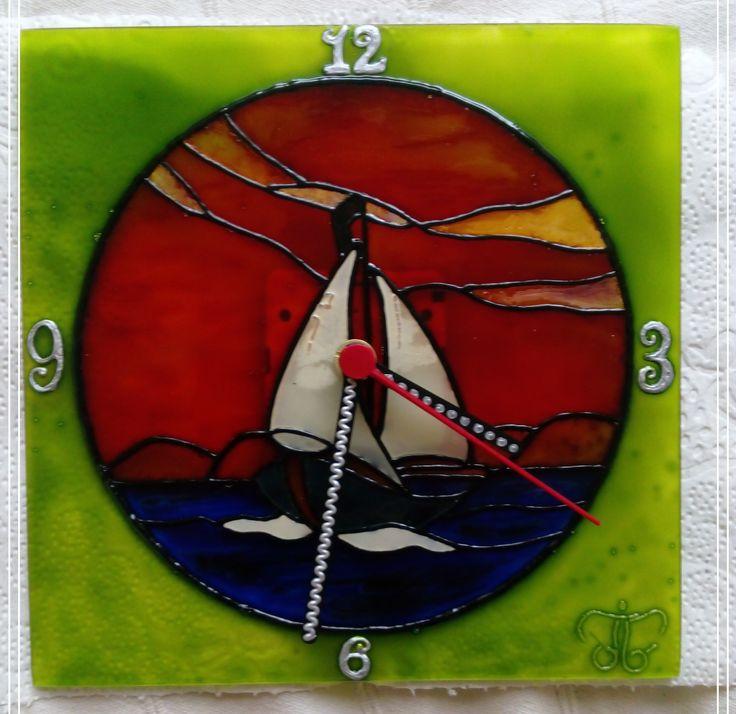 I love Balaton - Handmade - Handbemalte - kézzel festett üvegóra  -  20x20