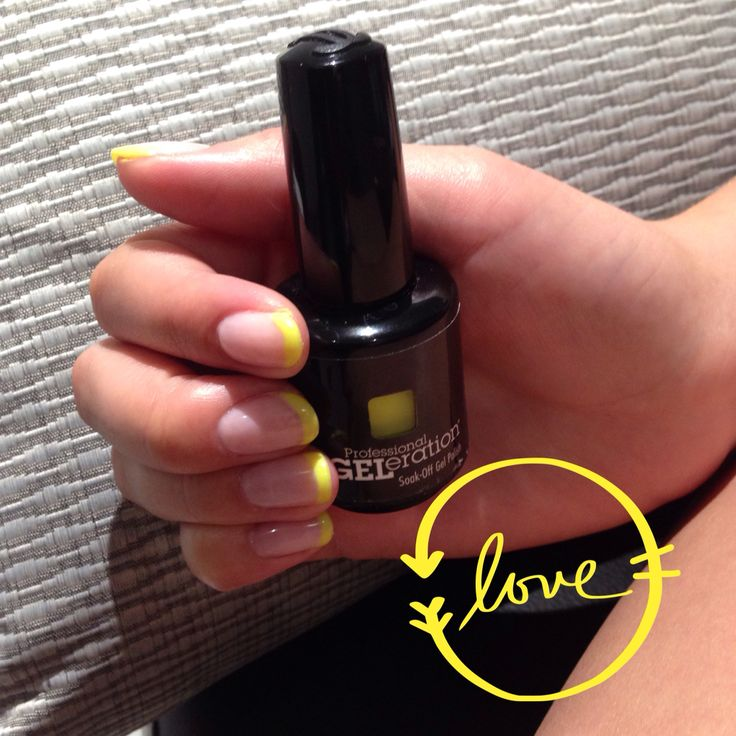 THE BRIGHT YELLOW FRENCH MANI . A sure fire trend setting manicure . Nails by Deanna at Mia Spa .