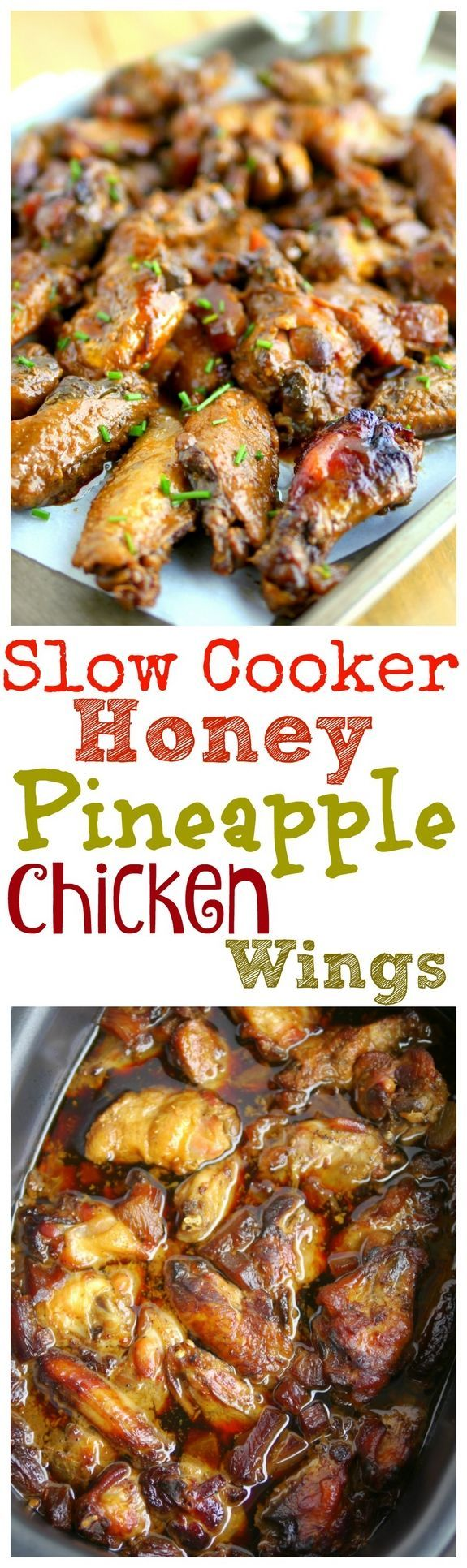 Slow Cooker Honey Pineapple Chicken Wings are your perfect Game Day appetizer, from http://NoblePig.com.