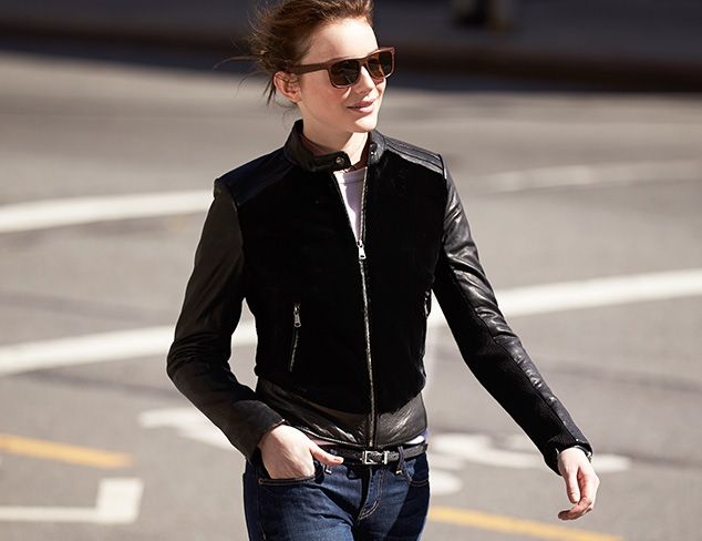 Andrew Marc Leather Jacket with Rabbit Fur