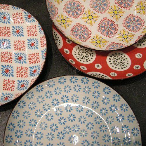 Assiettes à dessert assorties en céramique collection Bohemian signée Chehoma : Decoclico