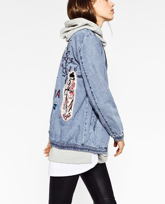Awesome denim bomber jacket from Zara. Loving the combination with a grey hoodie and skinny jeans.