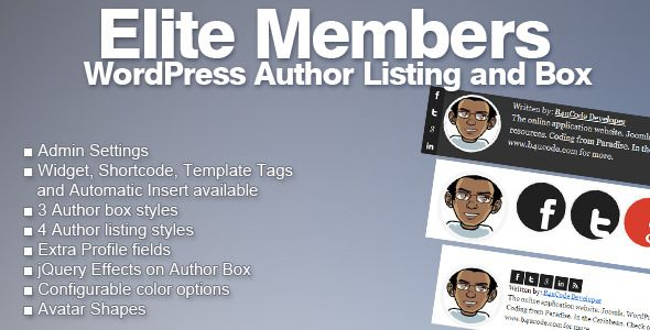 "Elite Members - WordPress Author Listing and Box   http://codecanyon.net/item/elite-members-wordpress-author-listing-and-box/3847535?ref=damiamio       Elite Members is a WordPress plugin for displaying top contributors/authors in a site. Have you ever wanted to list your authors according to the number of posts they've made or have you ever wanted to list ""last week's top author"" or ""Top Contributors for the Year""? This plugin would be perfect for you. With multiple layouts to choose from…"